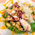 炙りの旨さ!炙りタコと焼き大豆の豆苗サラダ